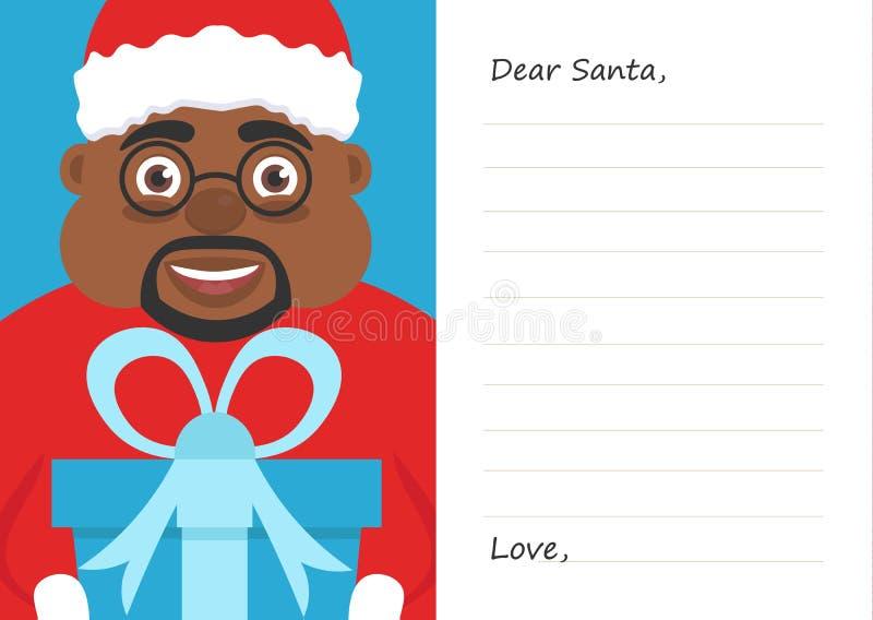 Lettera il caro Babbo Natale per il Buon Natale o il nuovo anno Maschio afroamericano sveglio Cartolina o modello della cartolina illustrazione vettoriale