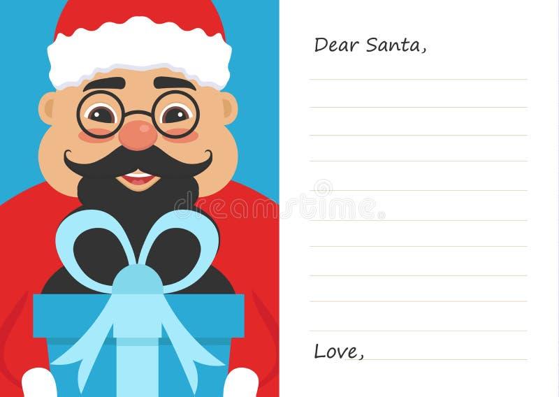 Lettera il caro Babbo Natale per il Buon Natale o il nuovo anno Maschio asiatico sveglio Cartolina o modello della cartolina d'au illustrazione di stock