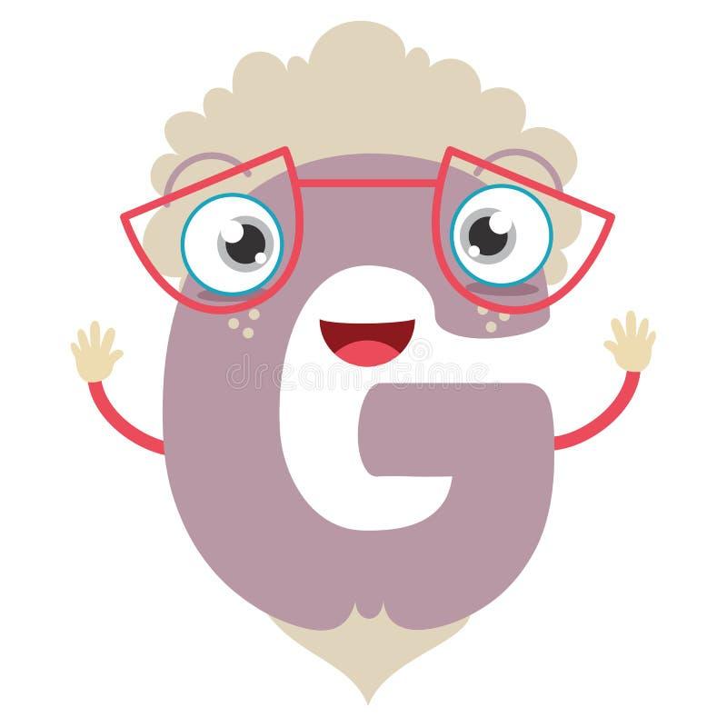 Lettera illustrata G illustrazione di stock