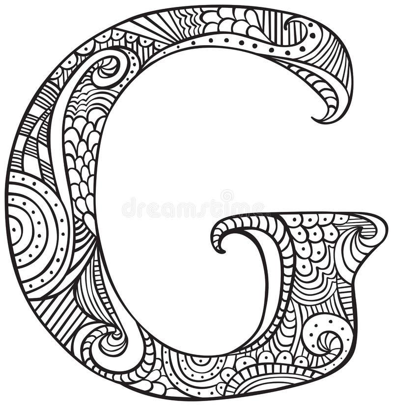 Lettera illustrata G illustrazione vettoriale