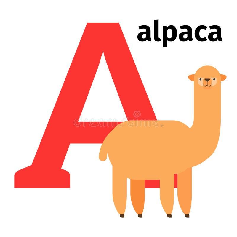 Lettera inglese A di alfabeto dello zoo degli animali illustrazione di stock
