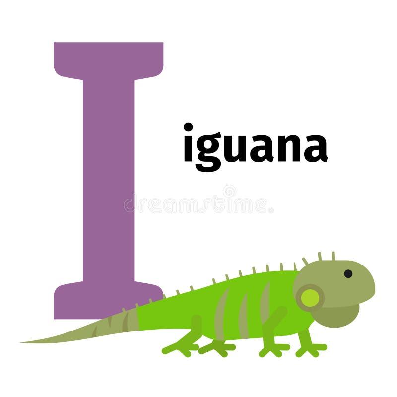 Lettera inglese I di alfabeto dello zoo degli animali illustrazione di stock