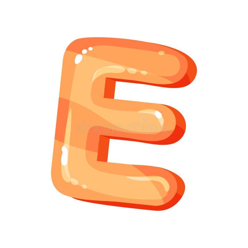 Lettera inglese luminosa lucida arancio di E, illustrazione di vettore della fonte dei bambini su un fondo bianco royalty illustrazione gratis