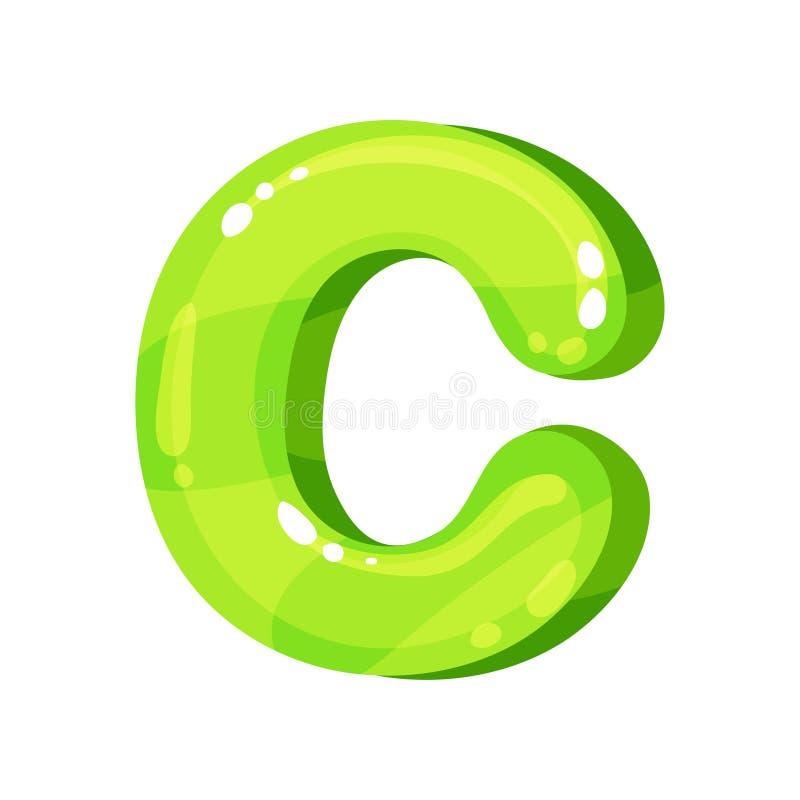 Lettera inglese luminosa lucida verde di C, illustrazione di vettore della fonte dei bambini su un fondo bianco illustrazione di stock