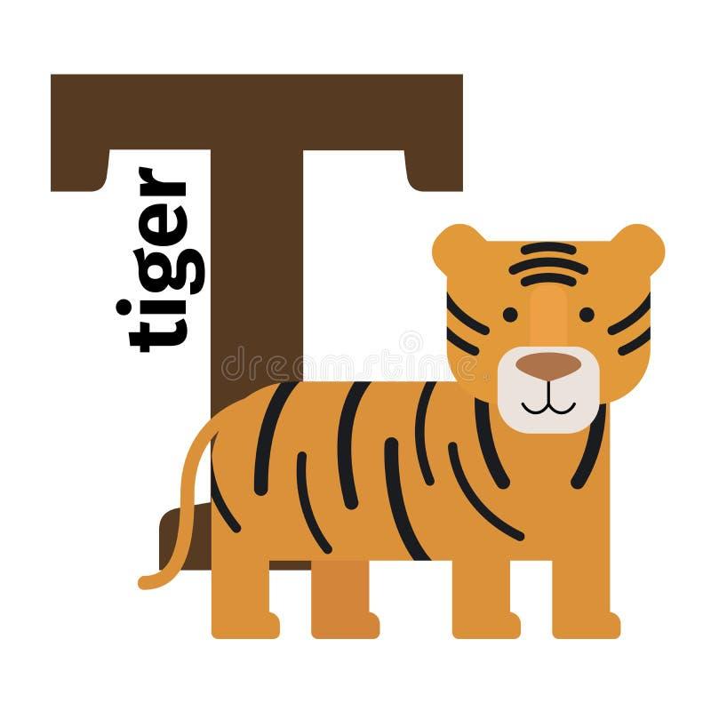 Lettera inglese T di alfabeto dello zoo degli animali royalty illustrazione gratis