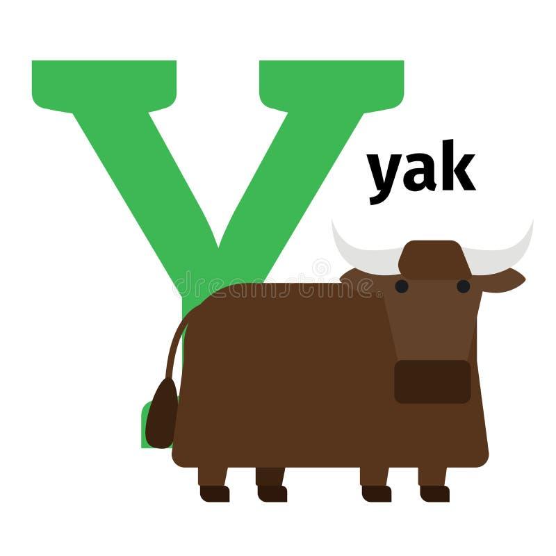Lettera inglese Y di alfabeto dello zoo degli animali royalty illustrazione gratis