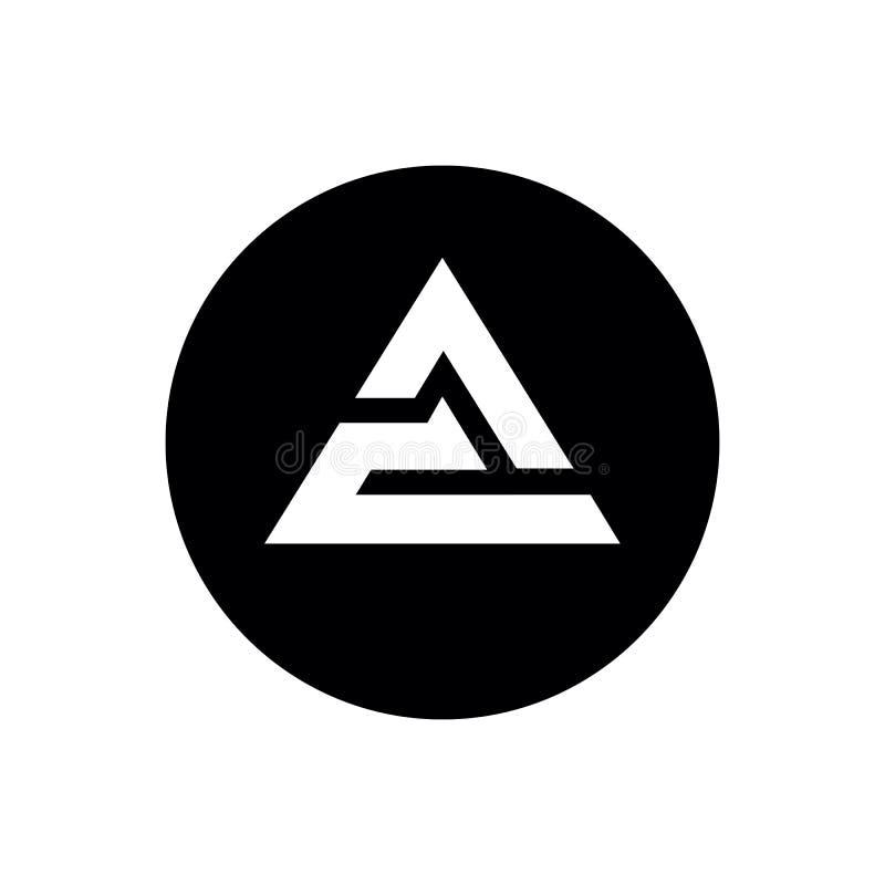 Lettera iniziale CA o progettazione di CA Logo Icon, del triangolo e di forma del cerchio, illustrazione in bianco e nero di vett royalty illustrazione gratis