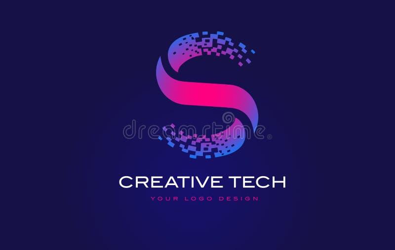 Lettera iniziale Logo Design di S con i pixel di Digital nella porpora blu illustrazione di stock