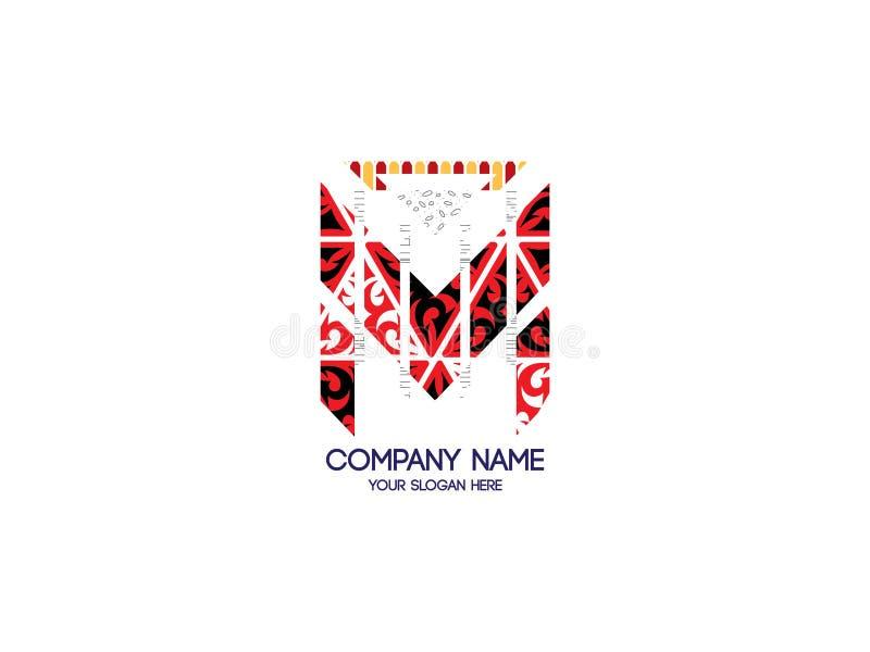 Lettera iniziale m. Tribal Pattern Design Logo Graphic Branding Letter Element illustrazione vettoriale