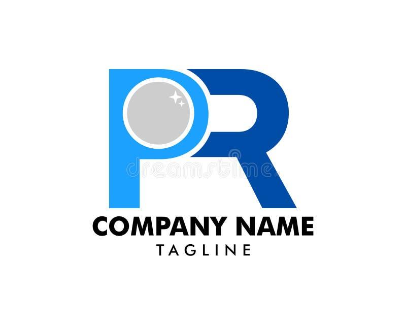 Lettera iniziale PR con l'icona Logo Template Design della perla illustrazione di stock