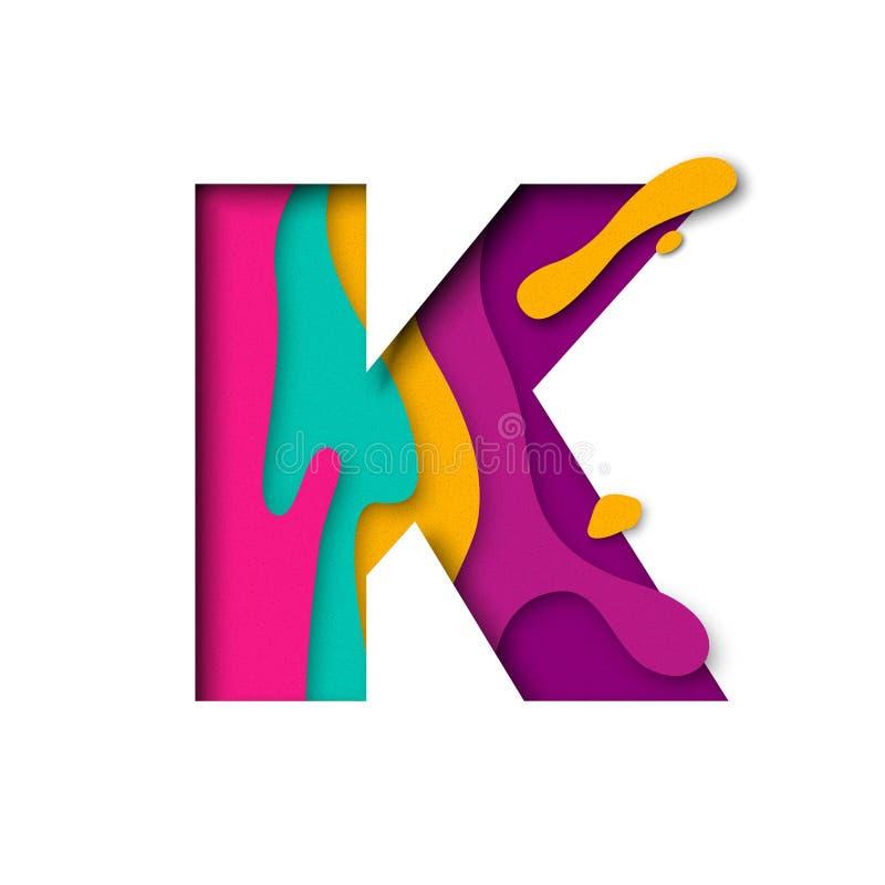 Lettera K del taglio della carta Il multi papercut realistico di strati 3D ha isolato il fondo bianco illustrazione vettoriale