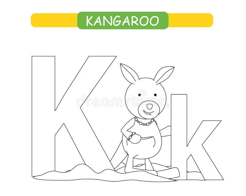 Lettera K e canguro divertente del fumetto Pagina di coloritura A-z di alfabeto degli animali Alfabeto sveglio dello zoo nel vett royalty illustrazione gratis