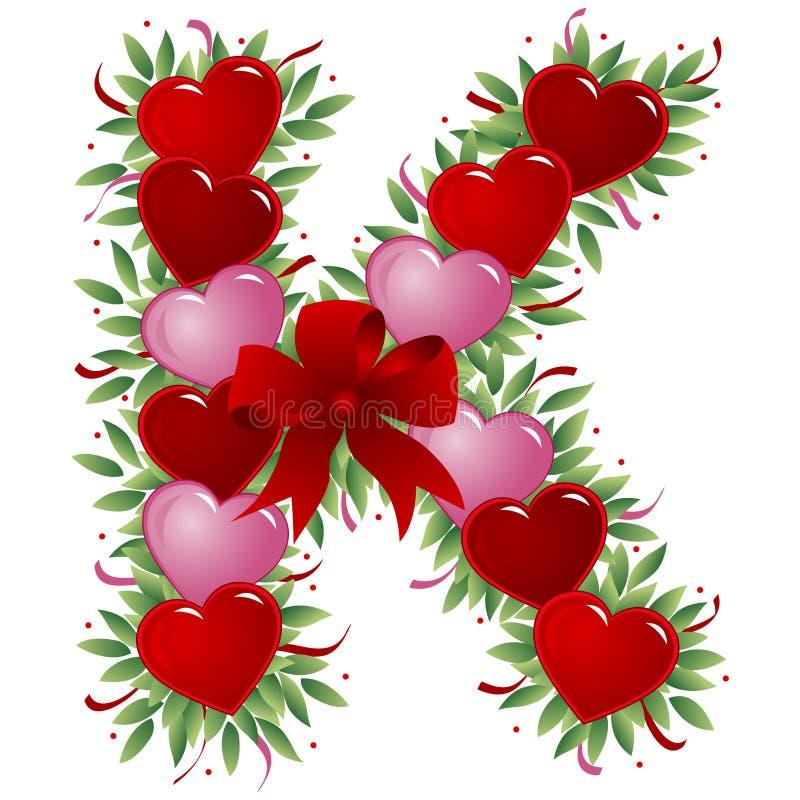 Lettera K - Lettera del biglietto di S. Valentino illustrazione di stock