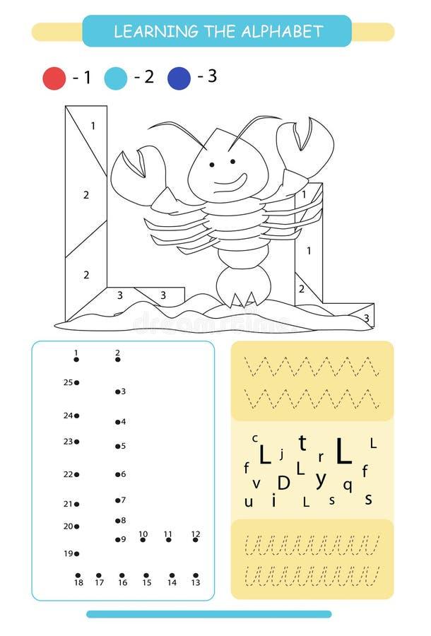Lettera L ed aragosta divertente del fumetto A-z di alfabeto degli animali Pagina di coloritura Foglio di lavoro stampabile Prati illustrazione vettoriale