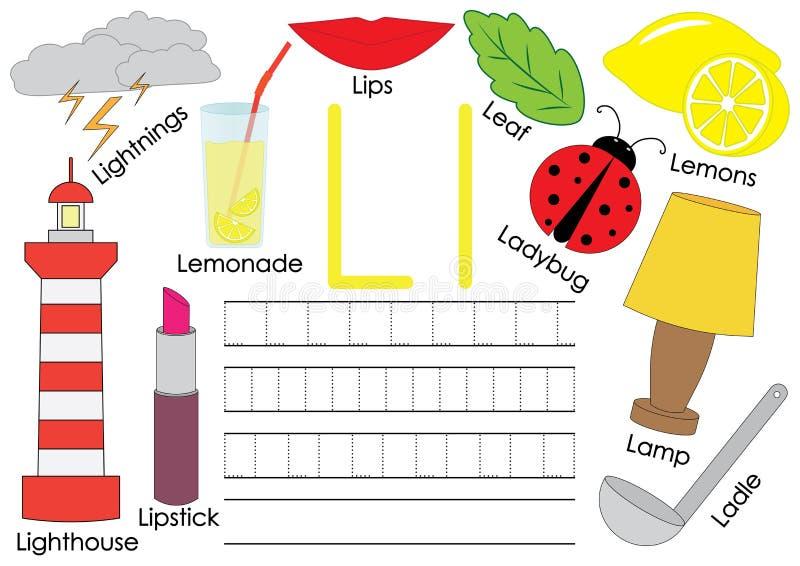 Lettera L La carta con le immagini e la scrittura praticano per i bambini in età prescolare illustrazione di stock
