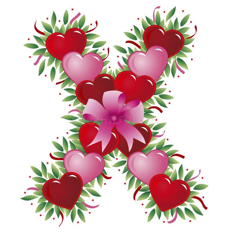 Lettera X - Lettera del biglietto di S. Valentino illustrazione vettoriale