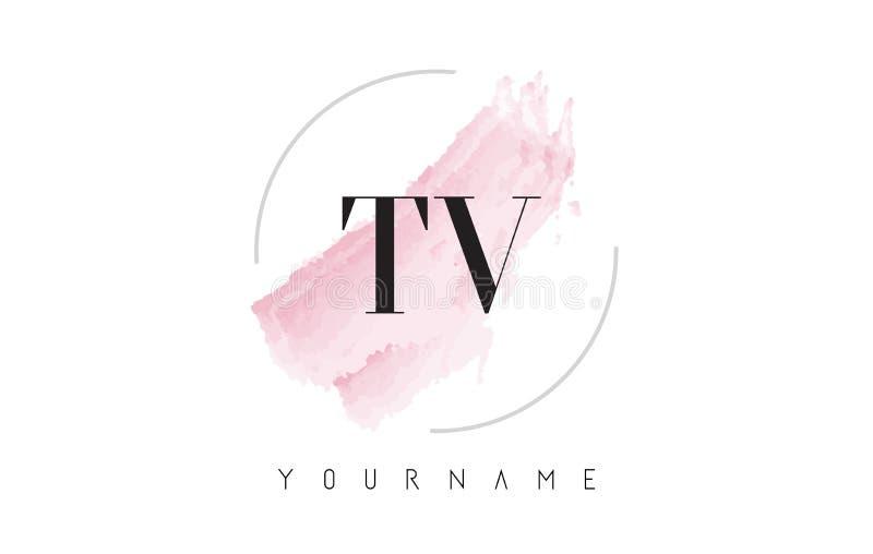Lettera Logo Design dell'acquerello della TV T V con il modello circolare della spazzola illustrazione vettoriale