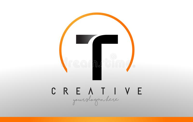 Lettera Logo Design di T con colore arancio nero Icona moderna fresca T illustrazione di stock