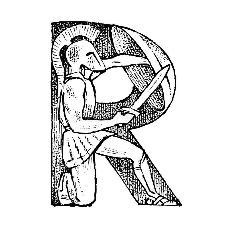 Lettera maiuscola antica antica R con un ornamento Cultura greca Doppia esposizione Schizzo inciso disegnato a mano in annata illustrazione vettoriale