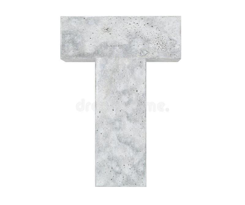 Lettera maiuscola concreta - T isolato su fondo bianco 3d rendono l'illustrazione illustrazione di stock