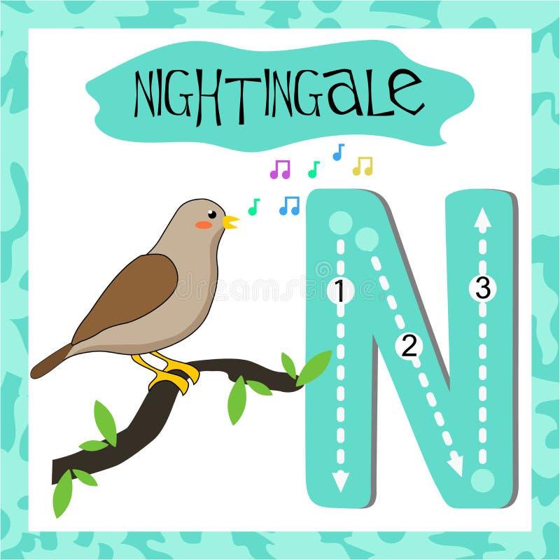 Lettera maiuscola N dell'alfabeto inglese per i bambini illustrazione di stock
