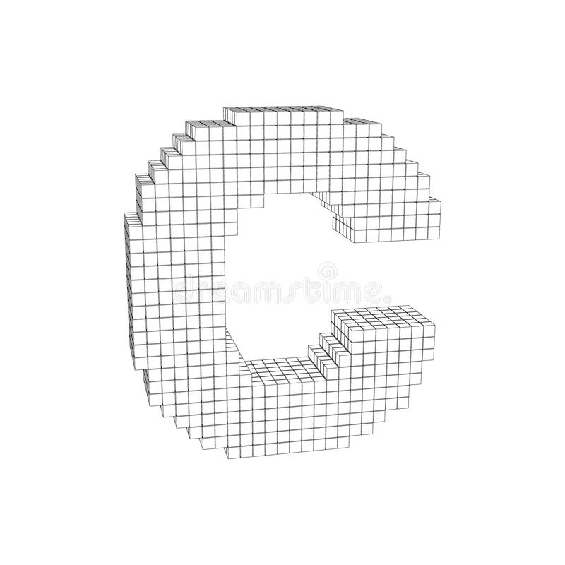 lettera maiuscola pixelated 3d C Illustrazione del profilo di vettore illustrazione di stock