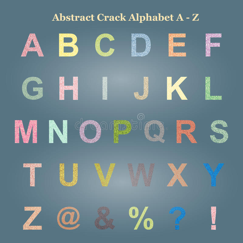 Lettera maiuscola A - Z di alfabeto variopinto astratto della crepa, maiuscola immagini stock