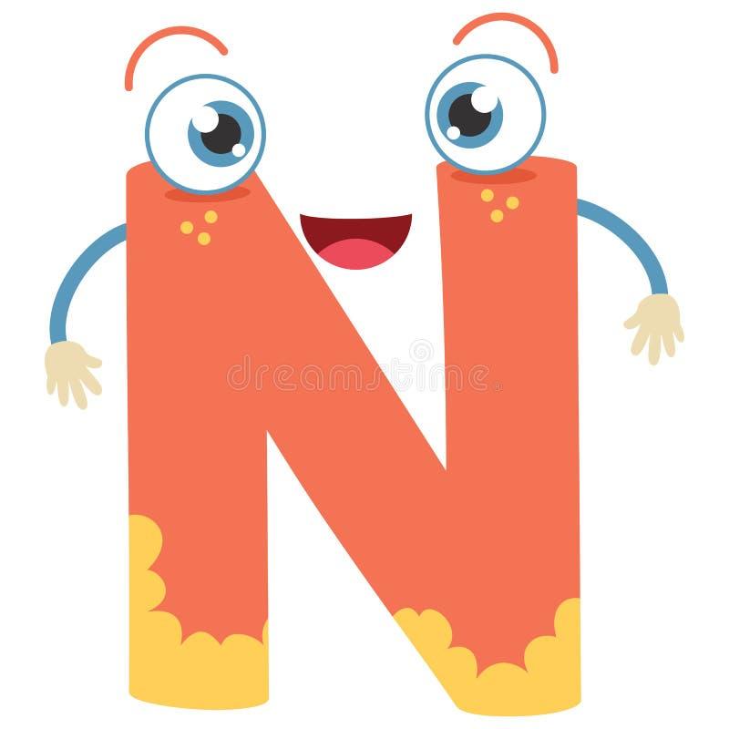 Lettera N illustrata illustrazione di stock