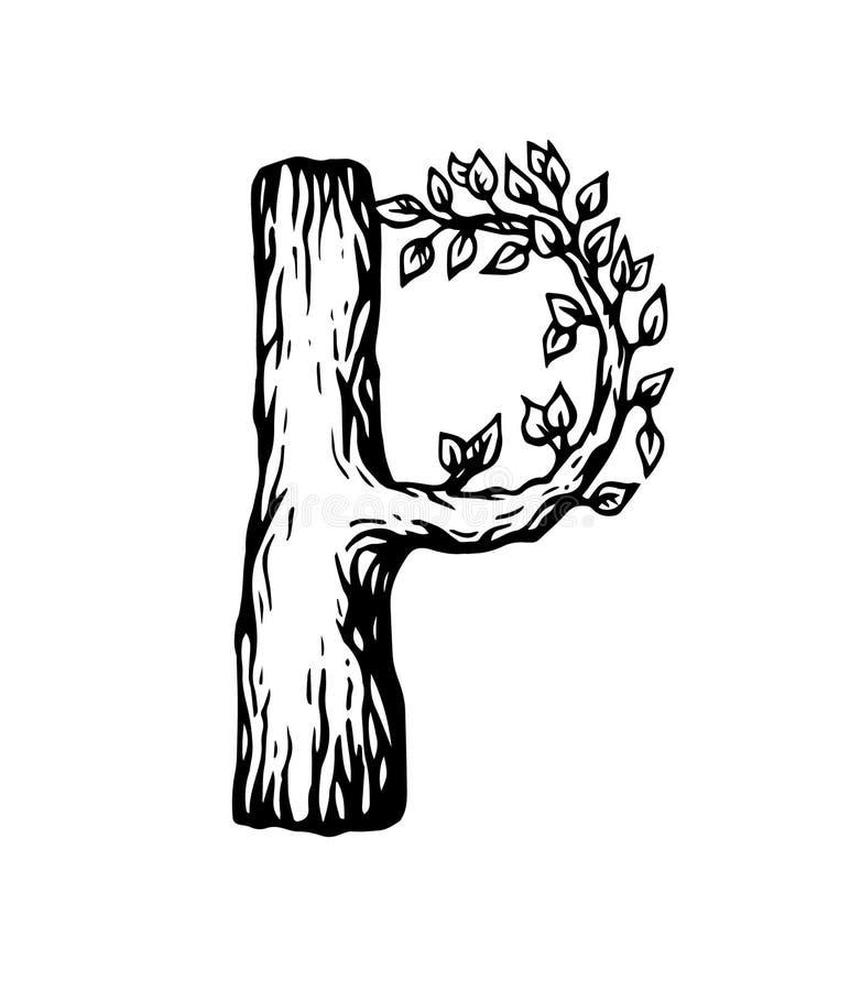 Lettera nera P dell'incisione fatta di legno con le foglie sui precedenti bianchi illustrazione di stock