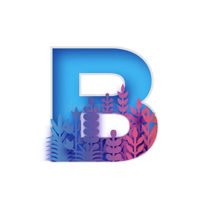 Lettera organica B del taglio della carta di origami Lettera della flora, fonte floreale, alfabeto del fiore, fonte del fiore D'a illustrazione di stock