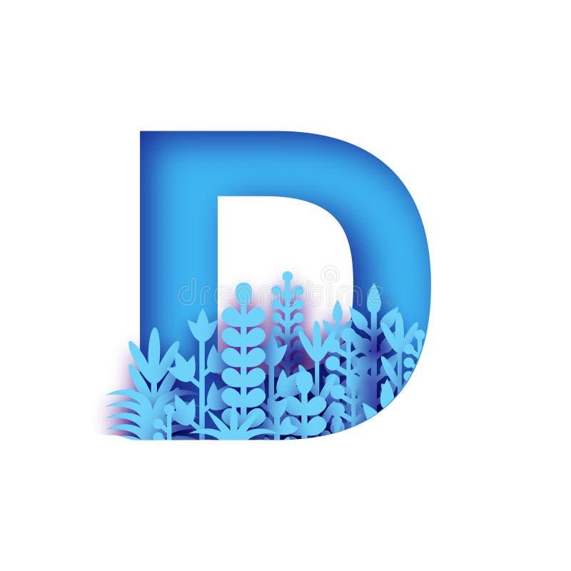 Lettera organica D del taglio della carta di origami Lettera della flora, fonte floreale, alfabeto del fiore, fonte del fiore Col royalty illustrazione gratis