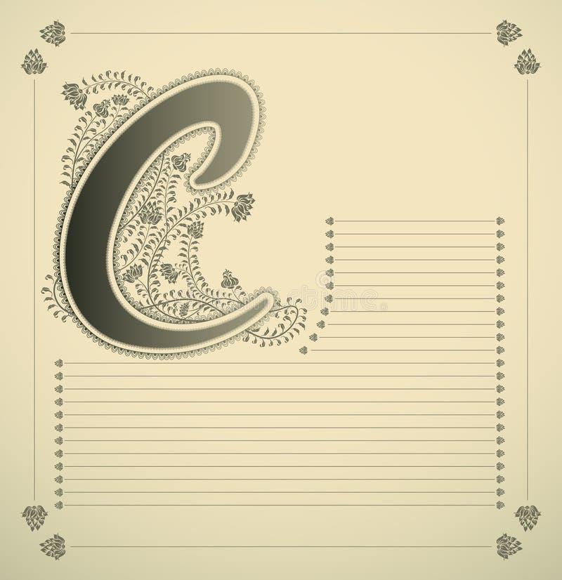 Lettera ornamentale - C illustrazione di stock