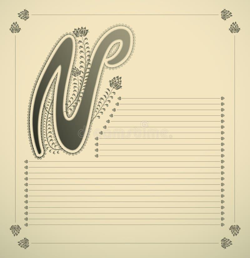 Lettera ornamentale - N illustrazione di stock