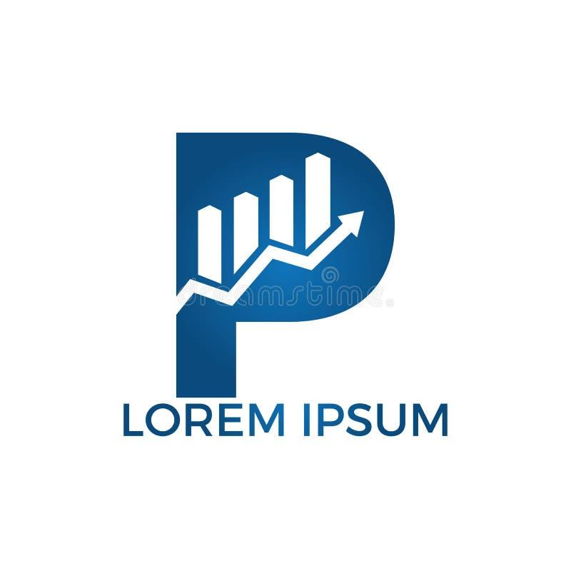 Lettera P con progettazione di logo di affari di nome di iniziale della freccia Concetto creativo di simbolo di crescita illustrazione vettoriale