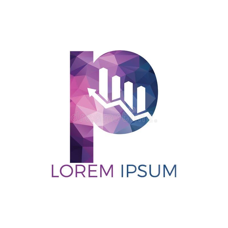 Lettera P con progettazione di logo di affari di nome di iniziale della freccia Concetto creativo di simbolo di crescita illustrazione di stock