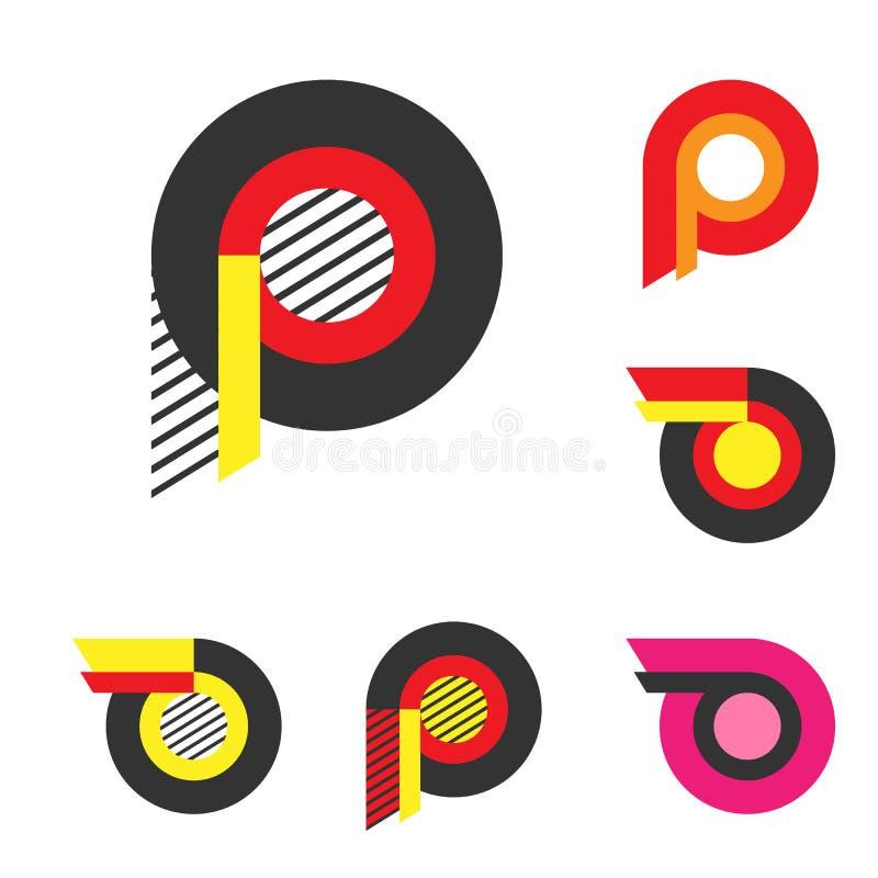 Lettera P o ruota con il logo del fuoco Minimalismo Art Style Logotype illustrazione vettoriale