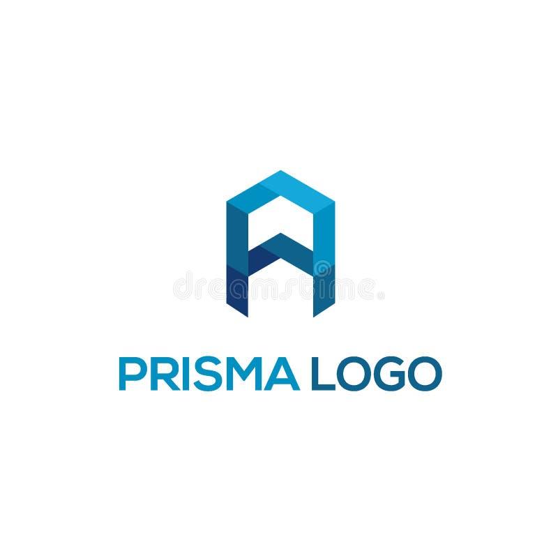 Lettera A per il concetto di progetto di logo del prisma royalty illustrazione gratis