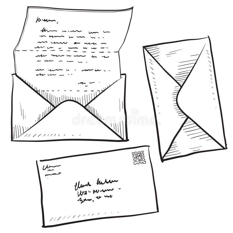 Lettera, posta, o illustrazione del contatto illustrazione di stock