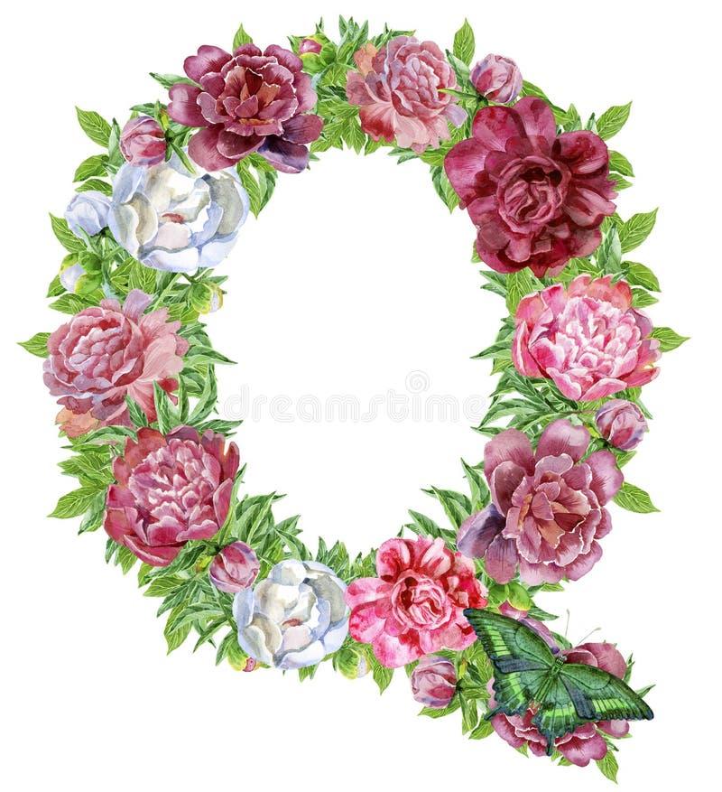 Lettera Q dei fiori dell'acquerello illustrazione di stock