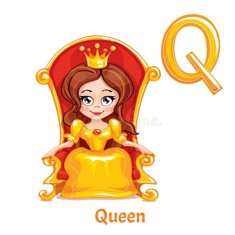 Lettera Q di alfabeto di vettore regina illustrazione vettoriale