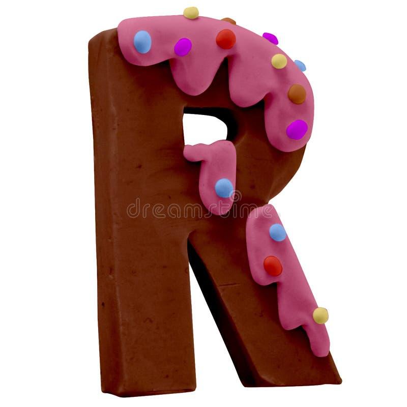 Lettera R Cake Font Cake Font Fabbricato a mano con plastica illustrazione di stock