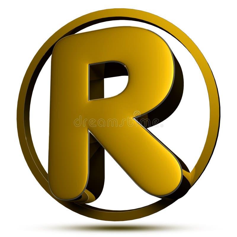 Lettera R 3D Con il percorso di ritaglio royalty illustrazione gratis