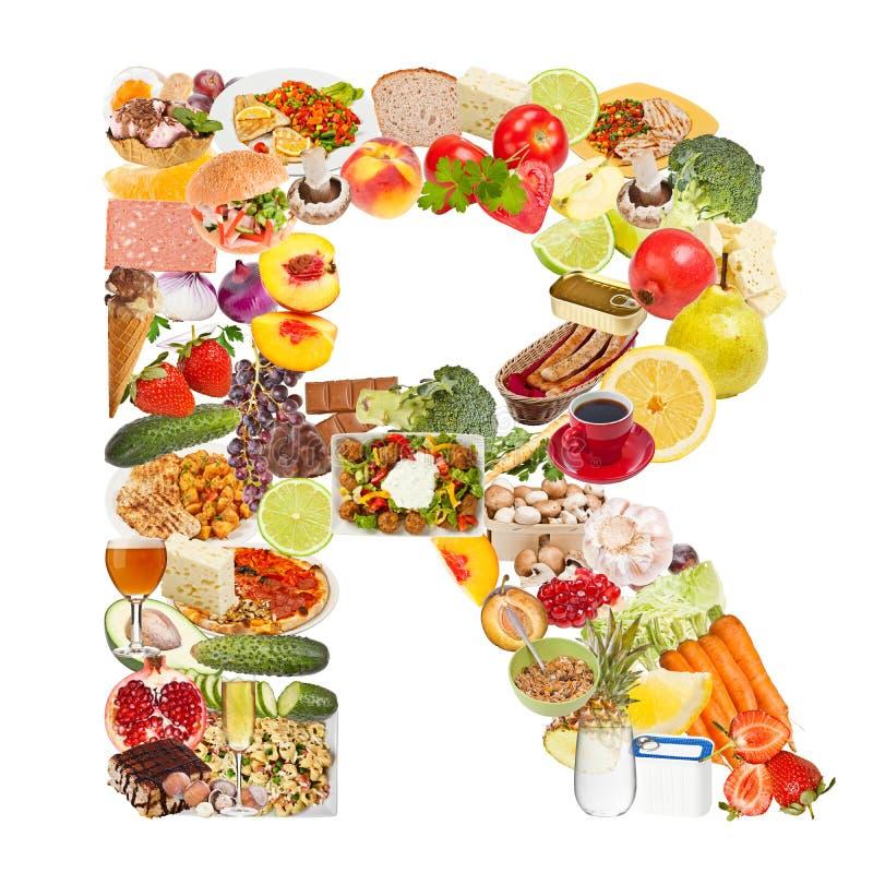 Lettera R fatta di alimento fotografie stock