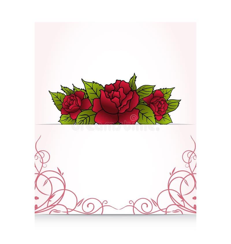 Lettera romantica con le rose del mazzo royalty illustrazione gratis
