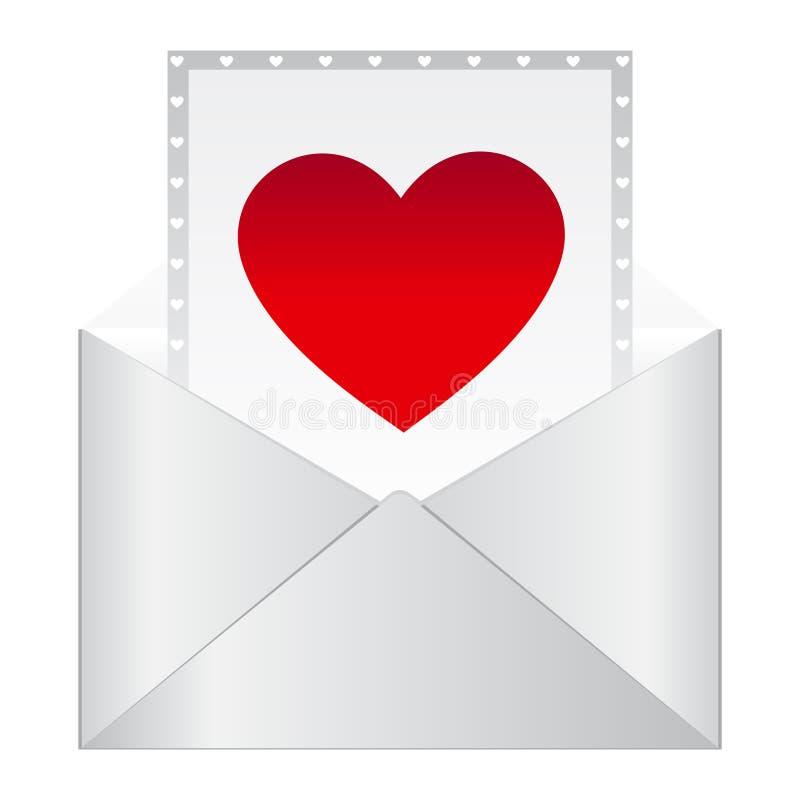 Lettera romantica Icona del messaggio della lettera di amore Busta bianca della lettera aperta rossa del cuore Illustrazione di v illustrazione vettoriale