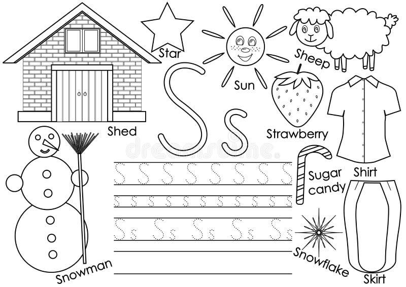 Lettera S Alfabeto inglese Pratica di scrittura per i bambini illustrazione vettoriale