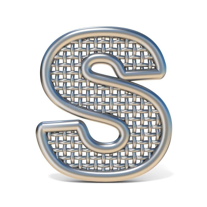 LETTERA S descritta 3D della fonte della maglia del nastro metallico illustrazione vettoriale
