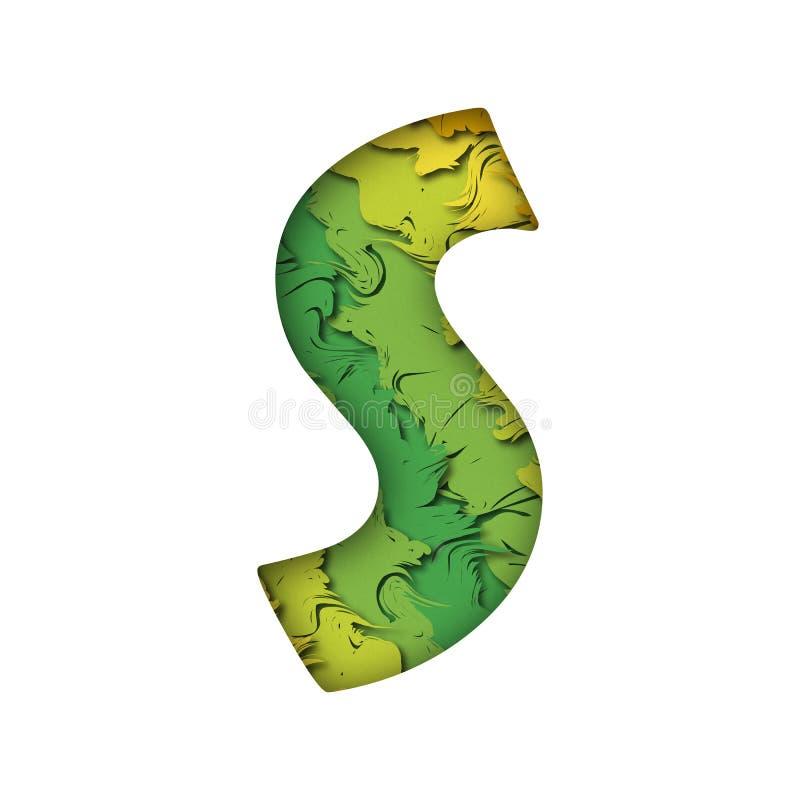 Lettera s verde d'avanguardia del papercut immagine stock libera da diritti