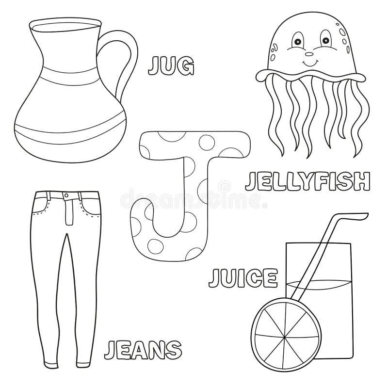 Lettera sveglia J di alfabeto con l'insieme delle illustrazioni e dello strato stampabile di parole illustrazione vettoriale