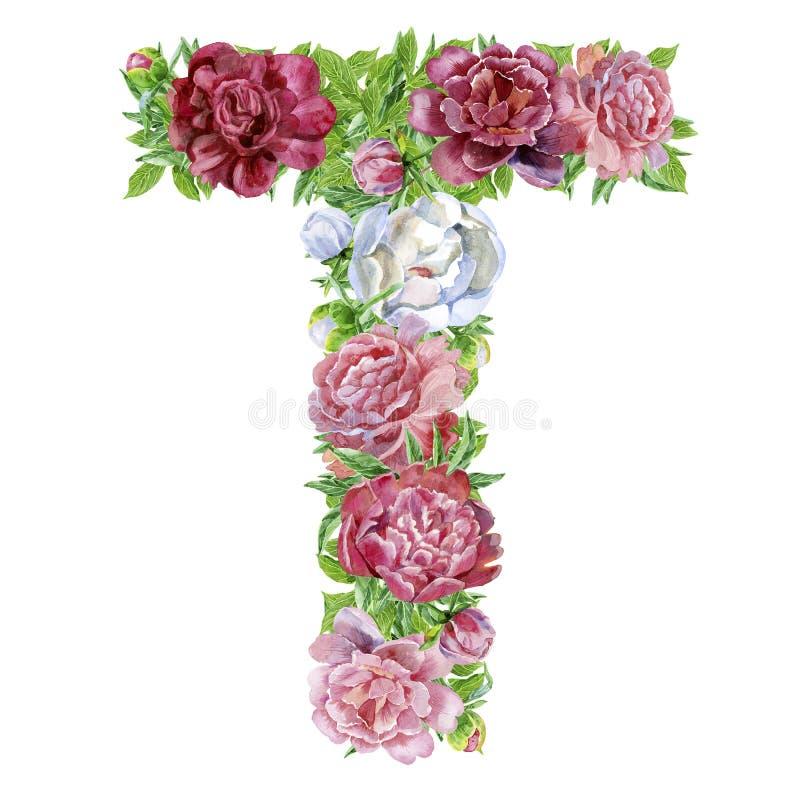 Lettera T dei fiori dell'acquerello illustrazione di stock